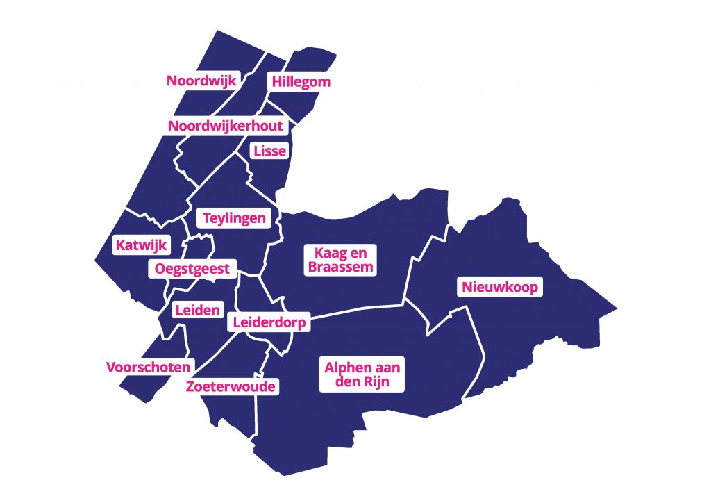 Kaartje verzorgingsgebied Huren in Holland Rijnland